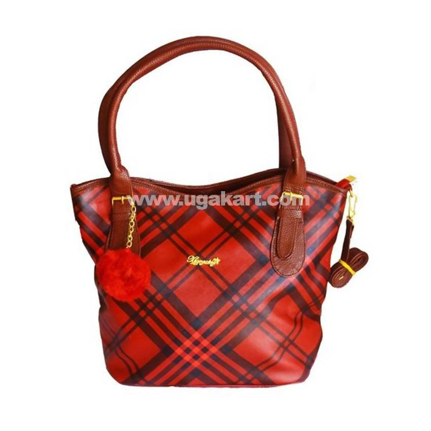 43035bb936 Patterned Leather Tote Handbag - Red