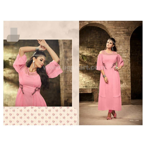 Cold Shoulder Long Dress in Cute Pink Colour- Size 2XL