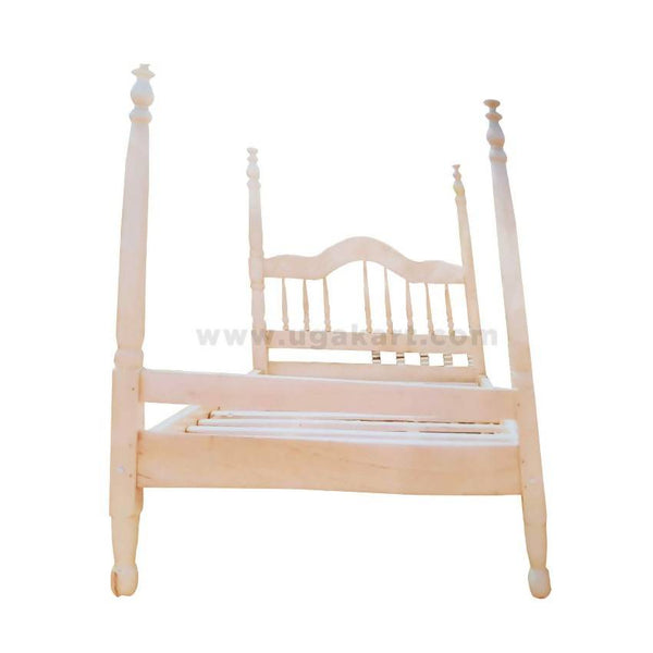 Cream Mission Poster Style Wooden Double Bed