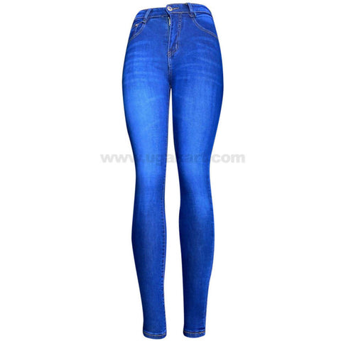 Light Blue with White Shade High Waisted Women's Jeans