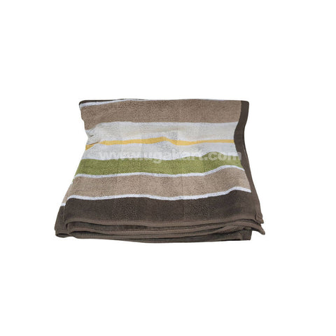 Bath Towel Brown & Green With Check-Size 70X140Cm