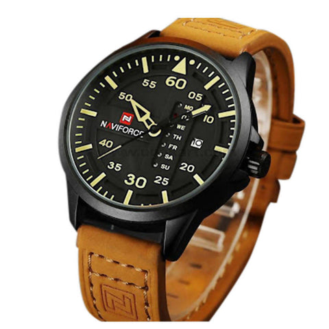 NaviForce Analog and Digital Watch Leather Strap With Date