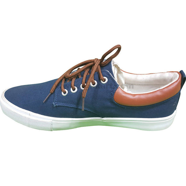 Navy Blue and Brown Men's Shoes