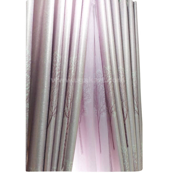 Pink and Golden Curtain With Design (Price per Meter)