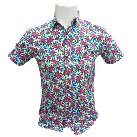 Half Sleeve Casual Regular Fit Floral Printed Red Green Shirt For Mens