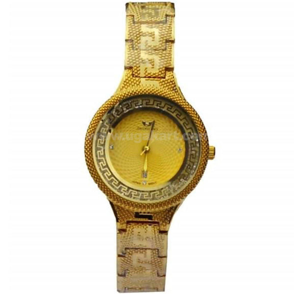 Gold Rounded Dial Anlog Women's Watch