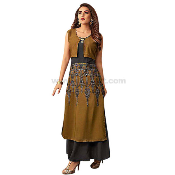 Long one pc Dress With Emboidery Work Soft Reyon Material XXL (Bust Size-44)