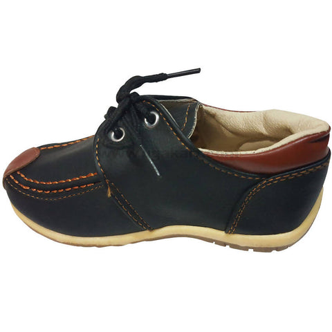 Faux Leather Black and Brown Shoes With Laces For Kids