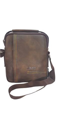 Jeep Zipper Brown Unisex Cross Bag