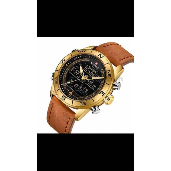 Naviforce Leather Strapped DualMen's Watch Golden
