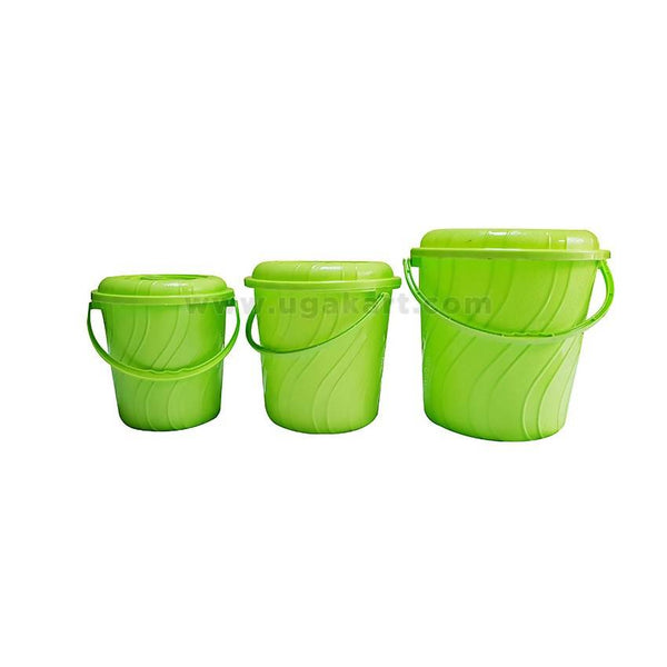 3 Pcs Green - Plastic Buckets