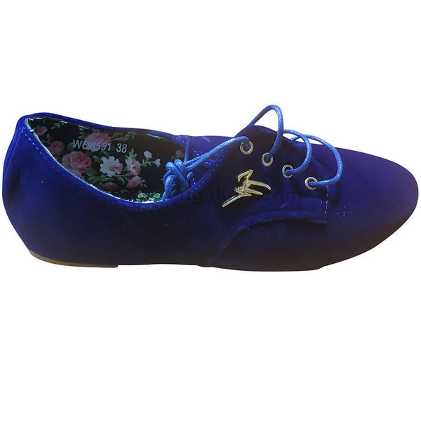 Women's Blue Lace Up Suede Flat Sole Shoes