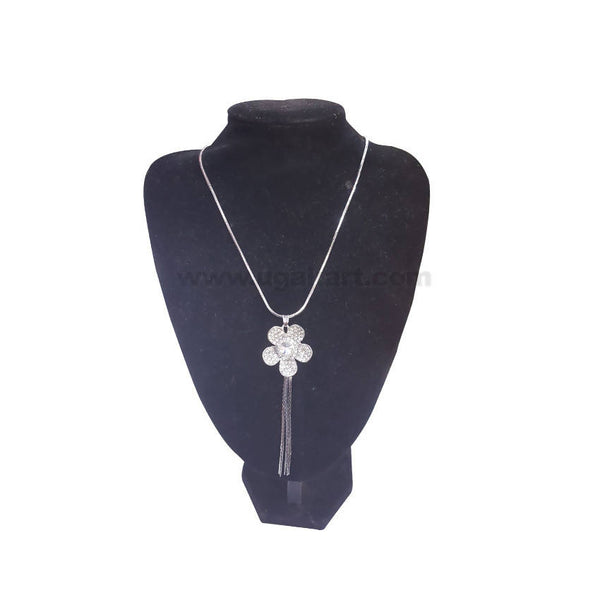 Flower Design Silver Necklace With Stone