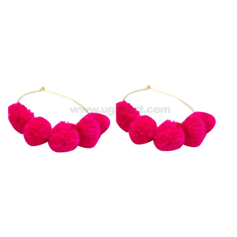 Pink Cotton Ball Earring