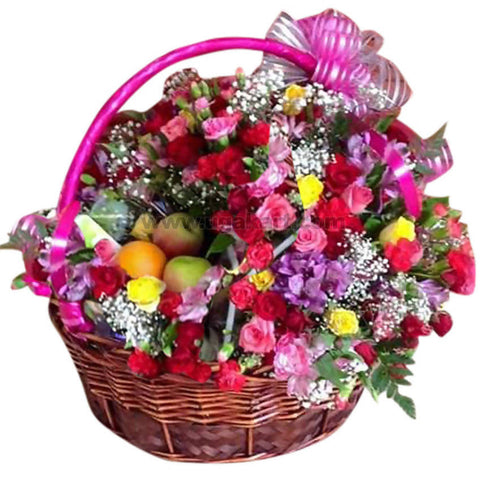 Multi Flower Basket with Fruit + Buiscuit + Chocolate