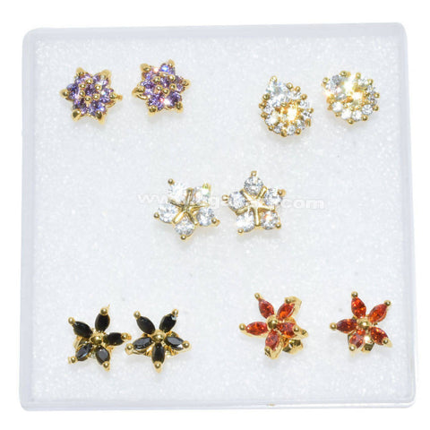 Flowers Charms Stud Earrings (Price Per Each)