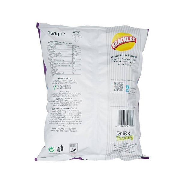 Krackles Zingy Salt & Vinegar 150Gm