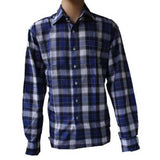 Blue Office and Casual Long Sleeve Checked Shirt