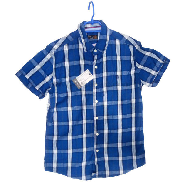 Blue Half Sleeve Check Shirt For Men