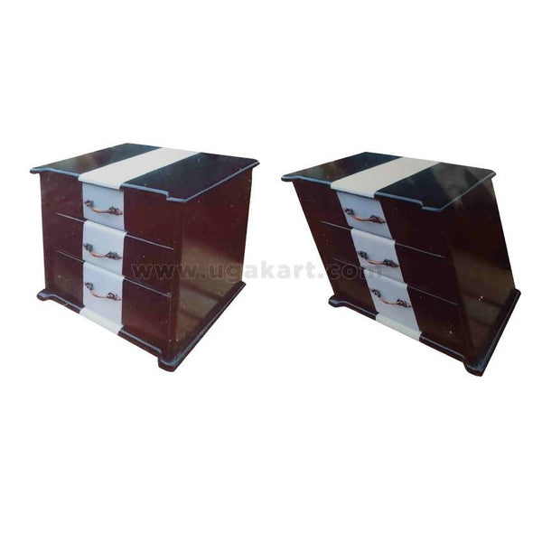 Wooden Side Table With Three Drawer-2Pc