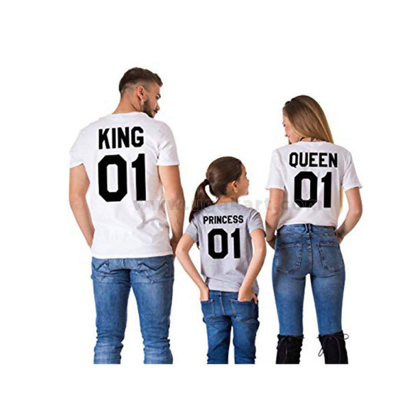 King, Princess, Queen Printed T-shirts Grey And White