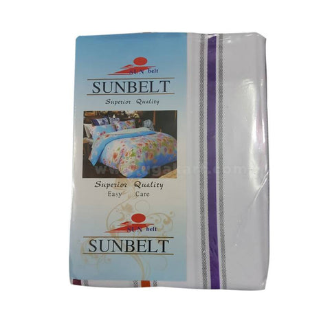 Sunbelt White and Blue Printed Bedsheet Set of 2 With 2 Pillow Cover (6x6)
