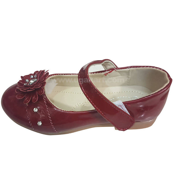 Maroon Flower Girls Shoes (Size-26 to 30)