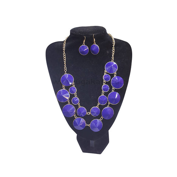 Blue Dots Peppy Necklace With Earrings