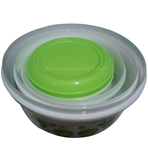 Plastic Mixing Bowl with Lid - Set Of 3,Green