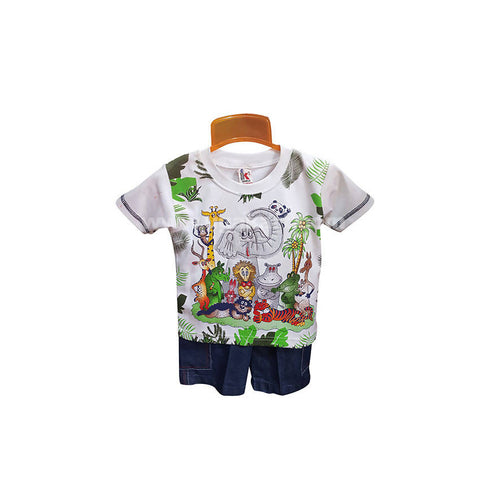 White T-Shirt And Shorts For Boy_6 m to 1 yr
