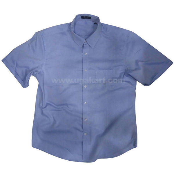 Denim Blue Half Sleeve Spread Collar Shirt For Men