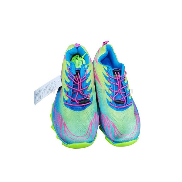 Mens Pink-Green Lace Up Sports Shoes - Green