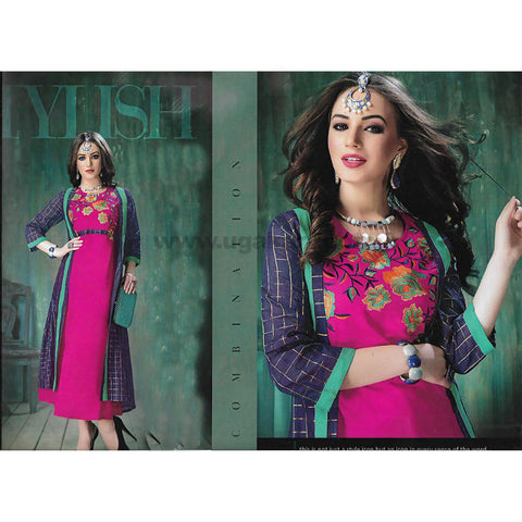 Pink and Blue With Green Stripes Heavy Rayon Kurti-SIZE : L , XXL