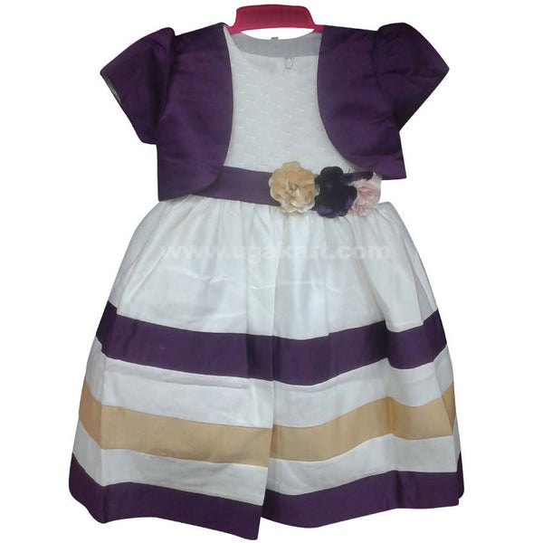 Purple & White Girls Dress (4-10yrs)