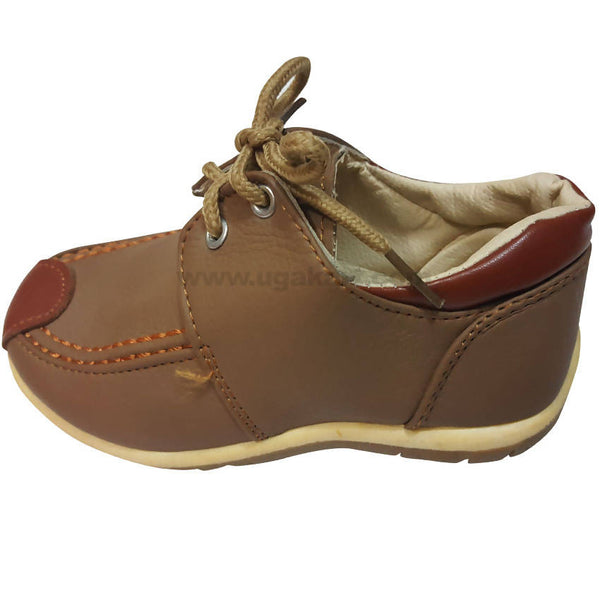 Faux Leather Brown and Brown Shoes With Laces For Kids