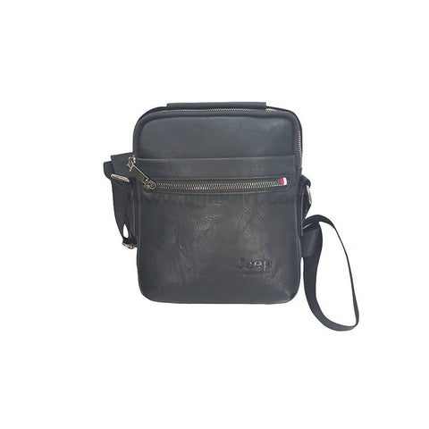 Jeep Faux Leather Black Unisex Cross Bag