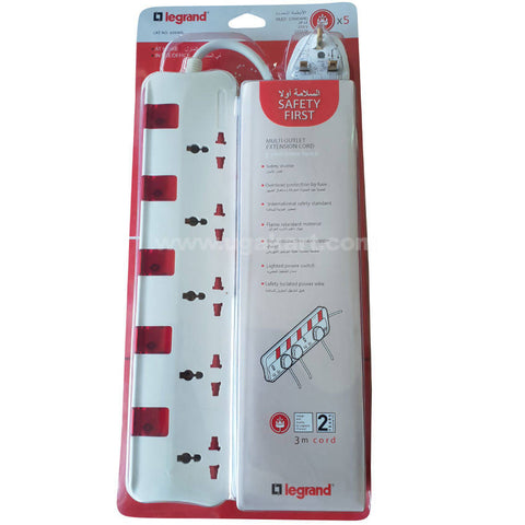 Legrand 3Meter Cord With 5 Socket