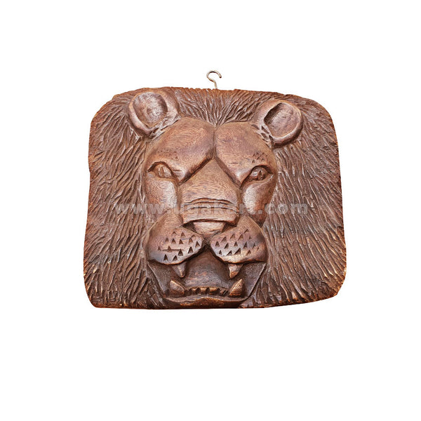 lion face square shape wooden sculpture wall decoration
