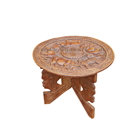 Round Wooden Table With Big 5 Animal Artwork