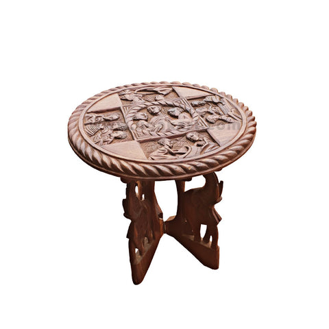 Round Wooden Table With Human Artwork