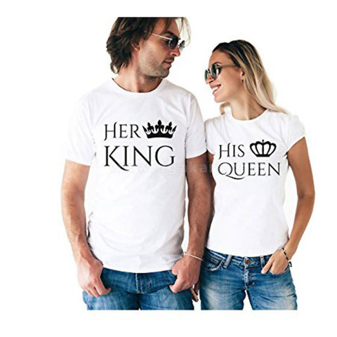 White Classic Her King And His Queen Printed T-Shirts