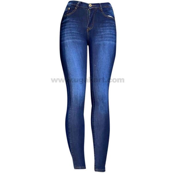 Dark Blue Shaded Skinny High Waisted Women's Jeans