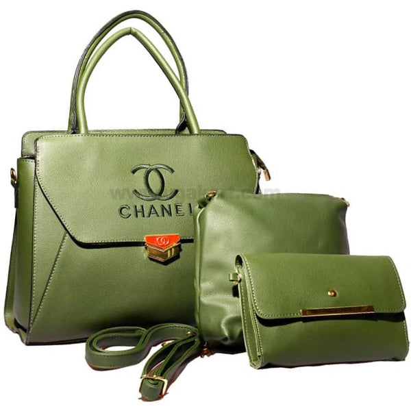 CC Chanel Green 3PCS Hand Bag