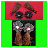 Grey Flowers And Brown Thread Tails Earrings