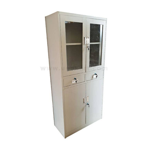 2 Door Metal  Wardrobe With Mirrors And Drawers