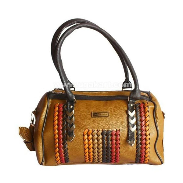 Ladies Duffle Leather Hand Bag - Brown, Black