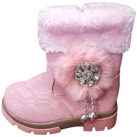 Light Pink Ankle Snow Boots For Kids
