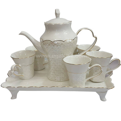 1 Tea Pot, Six Cups With Tray