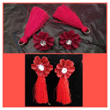 Red Flowers And Red Thread Tails Earrings