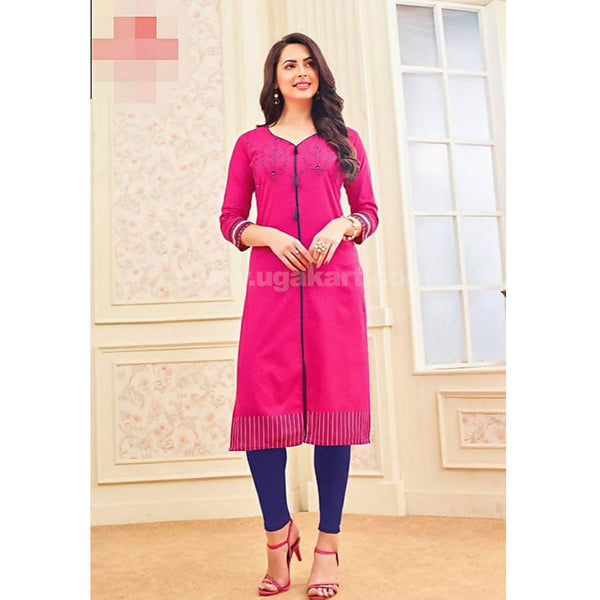 Top Kurti Cotton Material Dark Pink With Blue Print With Dark Blue Legging Full Set-XXL (Bust Size - 50)